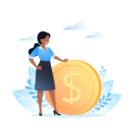 A young woman stands near a dollar coin. Earning, saving and investing money. Vector illustration for website, banner