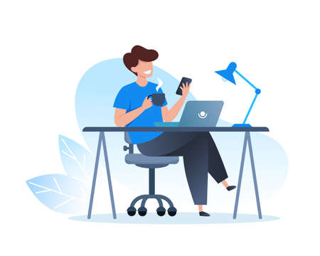 A man works at a laptop and drinks coffee. Home office, freelance and online training, education. Vector flat illustration