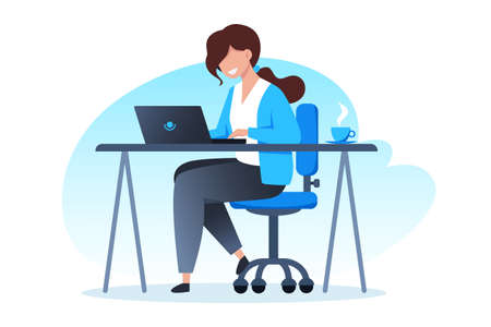 A woman works at a laptop and drinks coffee, home office, freelance and online training, education, vector flat illustration