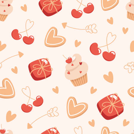 Seamless valentines day pattern with boxes of chocolates and cakes in flat style