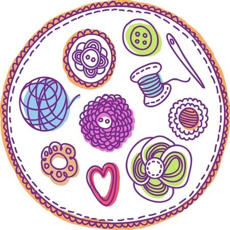 Hand-drawn needlework elements
