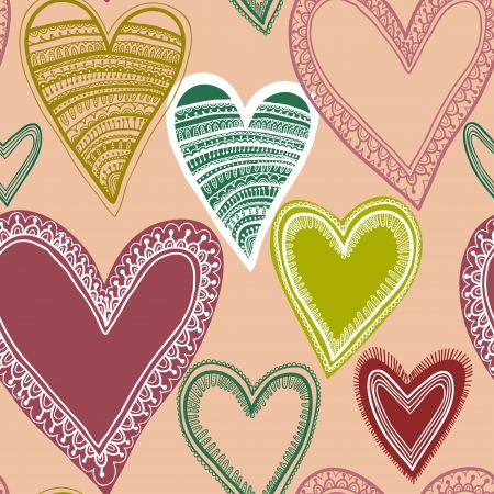 Colorful seamless heart pattern Vector
