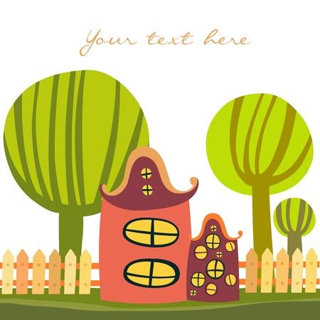 Cute cartoon house Illustration