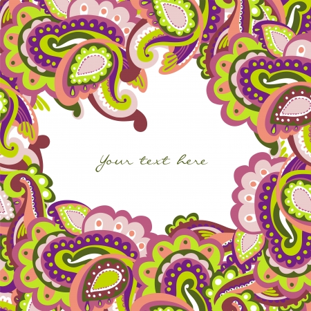 Colorful paisley frame Illustration