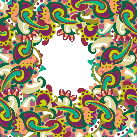 Colorful paisley frame Stock Vector - 17375411