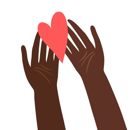 patronize: Illustration of hands with heart Illustration