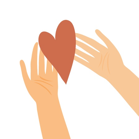 mercy: Illustration of hands with heart Illustration