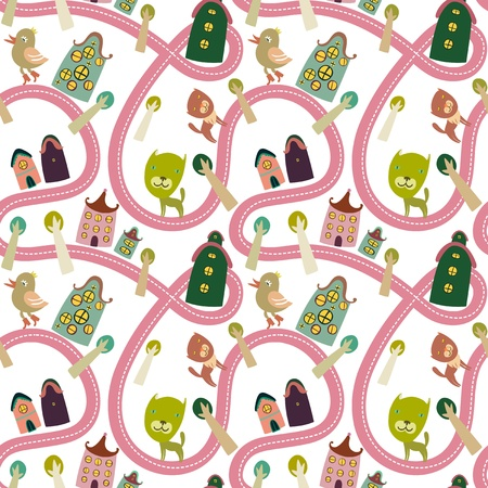 Road seamless pattern with houses and animals Stock Vector - 17421587