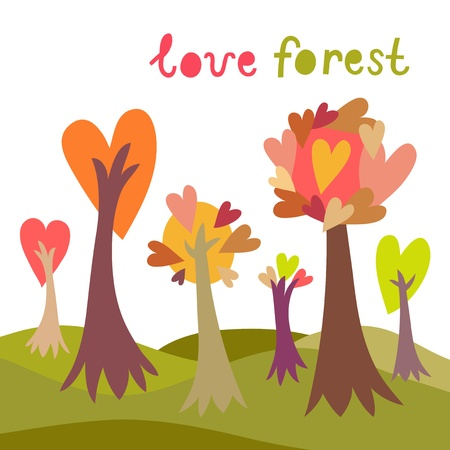 Colorful love forest background
