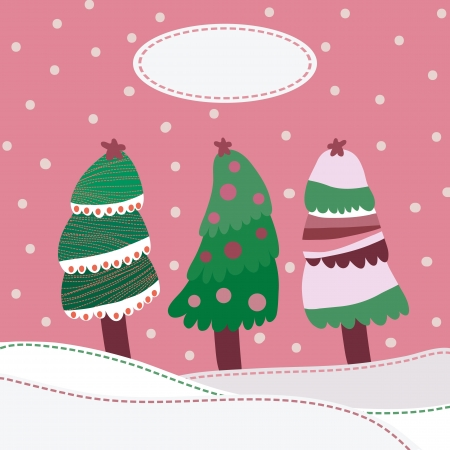 Snow landscape background with christmas trees Stock Vector - 17588210