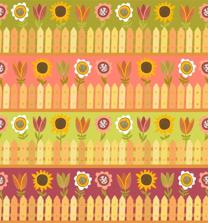 Country seamless pattern with fence and flowers Illustration