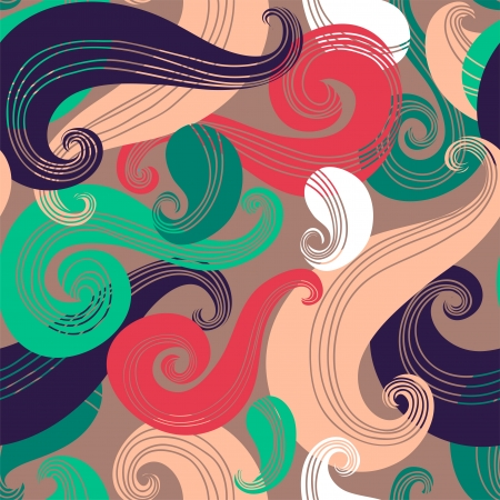 wild hair: Colorful seamless wave pattern Illustration
