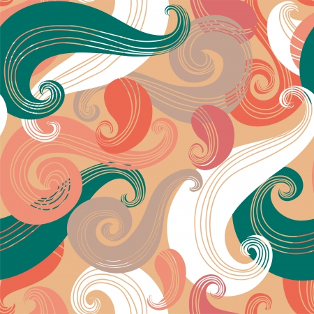 paisley background: Colorful seamless wave pattern Illustration
