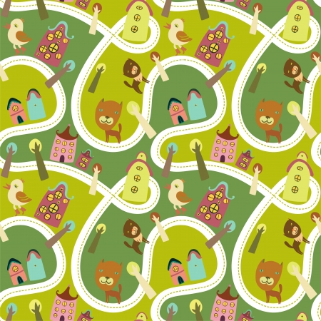 street kid: Road seamless pattern with houses and animals