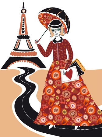 Fashion woman in Paris Vector