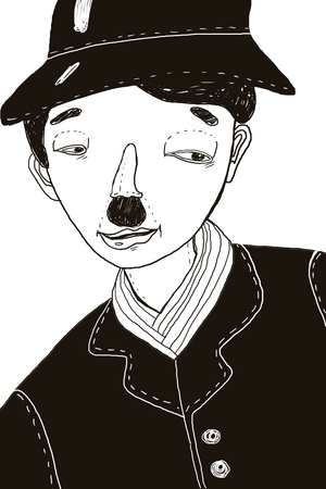 chaplin: Hand-drawn illustration of Charlie Chaplin Stock Photo