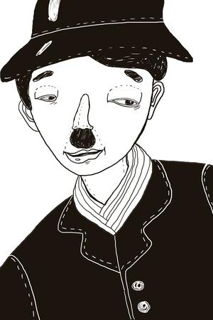 Hand-drawn illustration of Charlie Chaplin Stock Photo