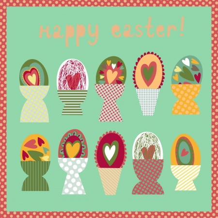 egg cups: Colorful card with Easter egg cups