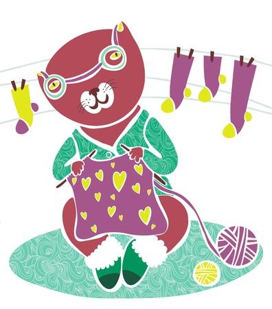 Cute knitting cat