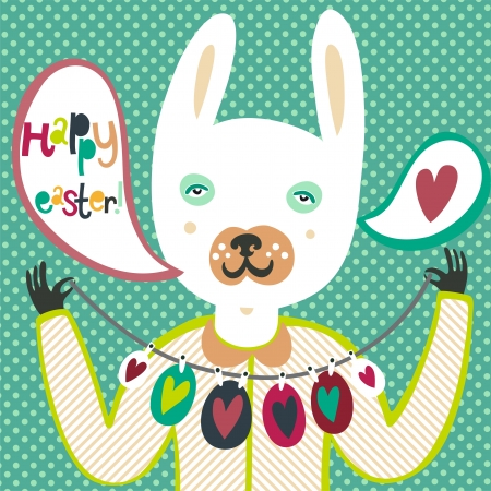 Colorful Easter card with bunny and eggs Illustration