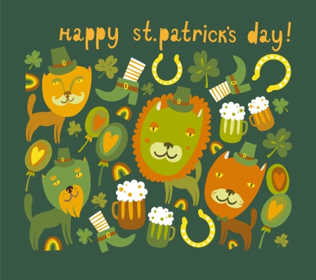 Cute St Patrick s day background with cats Stock Vector - 17960346