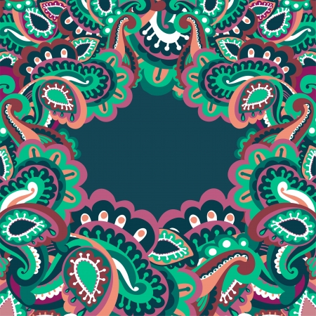Colorful paisley frame Stock Vector - 17960343
