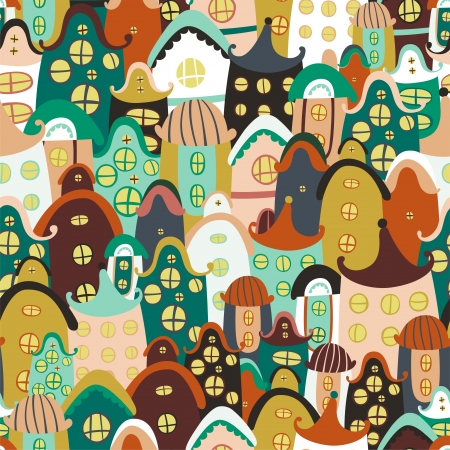 Colorful seamless pattern with cartoon houses