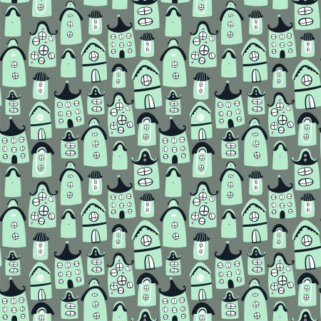 Cute seamless pattern with cartoon houses Illustration