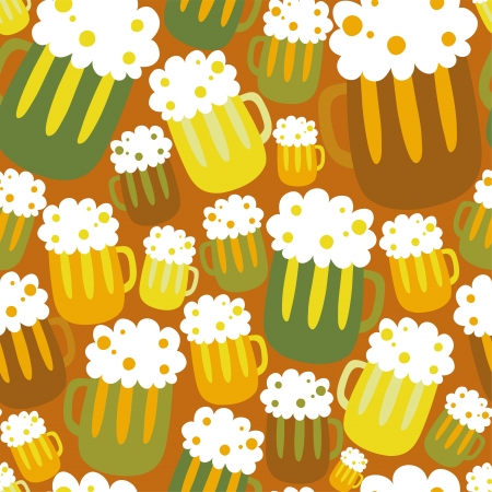 Cartoon seamless pattern with beer Vector