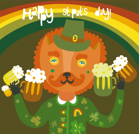 Cute St Patrick s day background with cat Illustration