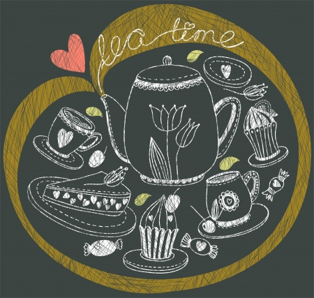 Vintage tea background Vector