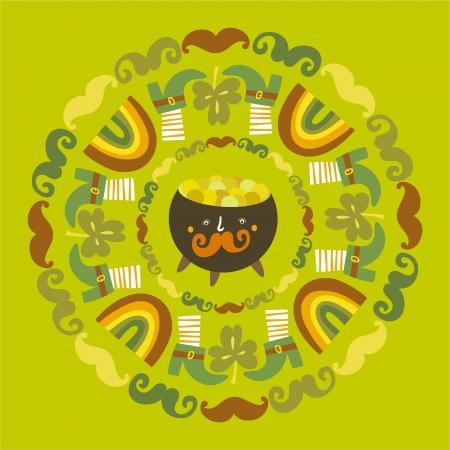 st patric: St Patrick s day round background Illustration