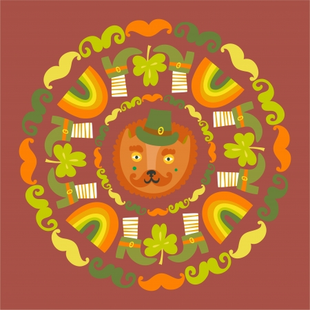 St Patrick s day colorful round with cat Vector