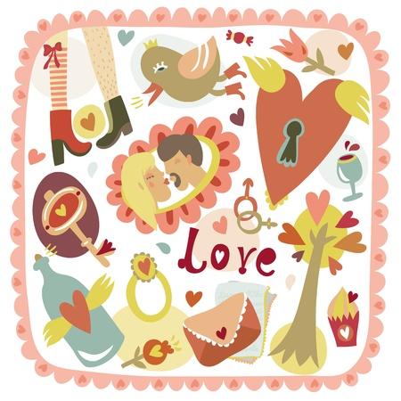 Colorful cartoon romantic love background