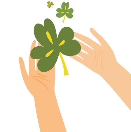 Hands holding clover leaf Illustration