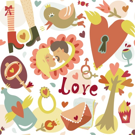 Colorful cartoon romantic love seamless pattern