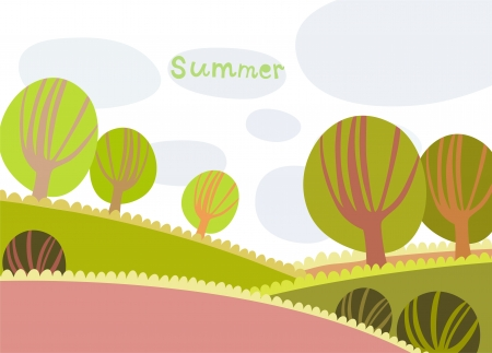 Colorful summer landscape with trees and clouds Illustration