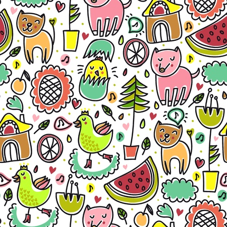 warm house: Cute colorful seamless childish pattern