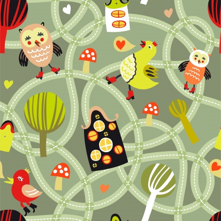 Road seamless pattern with houses and birds