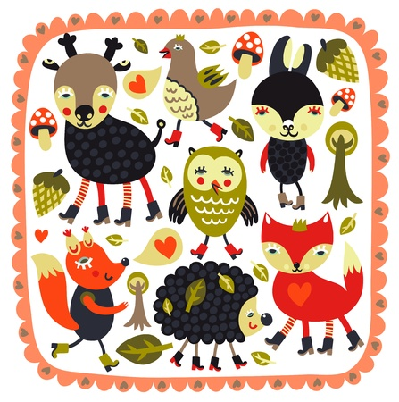 jachere: Fond mignon avec animaux des bois et des oiseaux