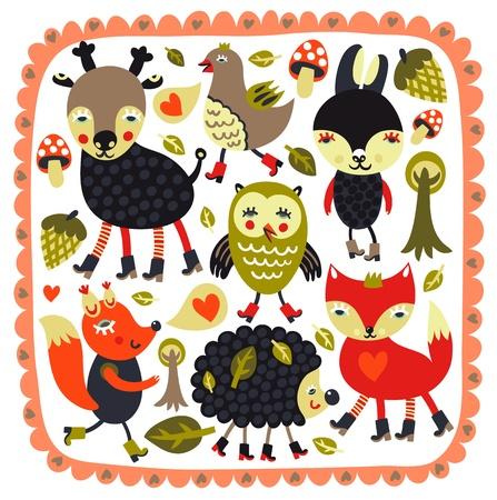 Fondo lindo con los animales del bosque y los pájaros