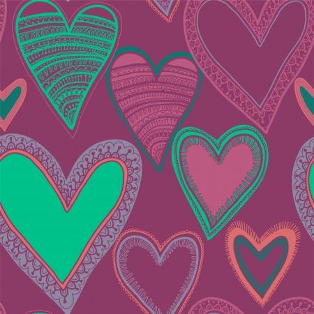 Colorful seamless heart pattern Illustration