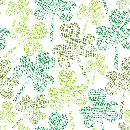 clover backdrop:  vintage seamless clover pattern Illustration