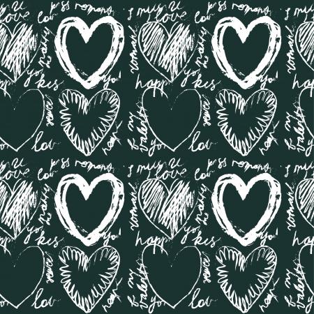 Seamless hand drawn heart pattern Illustration
