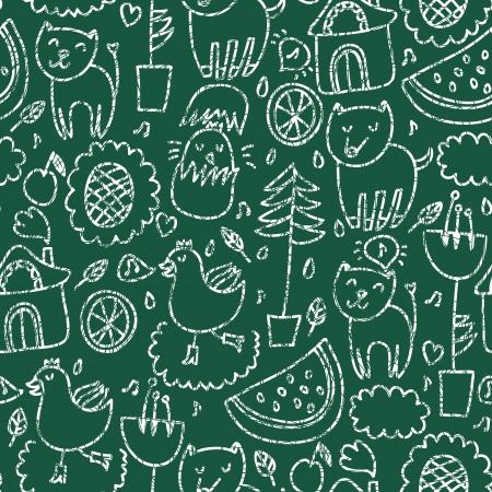 Cute seamless chalkboard pattern