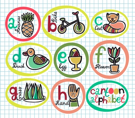 Cute colorful cartoon alphabet from A to H