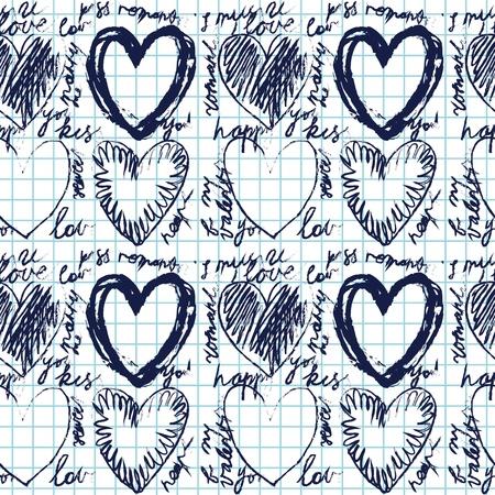 Hand-drawn seamless heart pattern