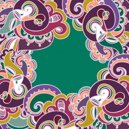 Colorful paisley frame Illustration