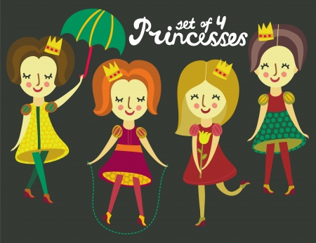 Set of 4 cute colorful Princesses Vector