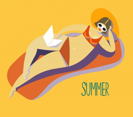 Retro girl on a beach Illustration